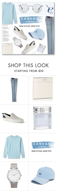 """Coffee Date: 20/03/17 (WGC)"" by solyda-sok ❤ liked on Polyvore featuring Lands' End, Yves Saint Laurent, BOSS Hugo Boss, Larsson & Jennings, Vineyard Vines, Ray-Ban, men's fashion and menswear"
