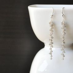 snowfall  raw diamond earrings by jeling on Etsy, $142.00