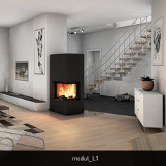 """modul steht für die Heizkamine der monolith Ofenserie. Wie jeder monolith besticht der modul_L1 durch die hochwertige Verarbeitung der Natursteinverkleidung und die exzellente Verbrennungstechnik. Geradlinige """"monolithische""""  Erscheinung, Wärmespeicherung und wohltuende Wärmestrahlung – das ist der modul_L1. Die große hochschiebbare Glaskeramikscheibe bietet echtes Feuervergnügen. Durch die Eckglasscheibe eignet sich der modul_L1 hervorragend für die Raumecke – kann natürlich aber auch an…"""