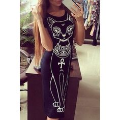 Casual Scoop Neck Cartoon Kitten Pattern Short Sleeve Dress For Women