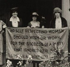 Suffragettes with a Susan B. Anthony banner