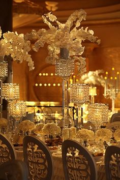 8 Eye-Catching Table Setting Inspirations for Your Big Day - MODwedding Gatsby Wedding, Mod Wedding, Wedding Events, Gatsby Party, Reception Decorations, Event Decor, Wedding Centerpieces, Centrepieces, Table Decorations