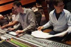Producer/Composer/Arranger Brent Fischer(r) at Conway Studios during recording of Pacific Jazz with Clare Fischer Big Band