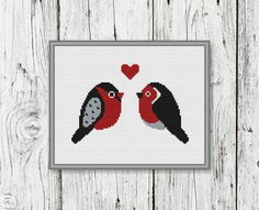 Cute Little Birds In Love Counted Cross Stitch Pattern - PDF, Instant Download