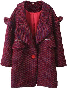 Red Long Sleeve Single Button Lapel Wool Coat