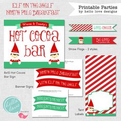 INSTANT DOWNLOAD Elf on the Shelf North Pole Breakfast Printables