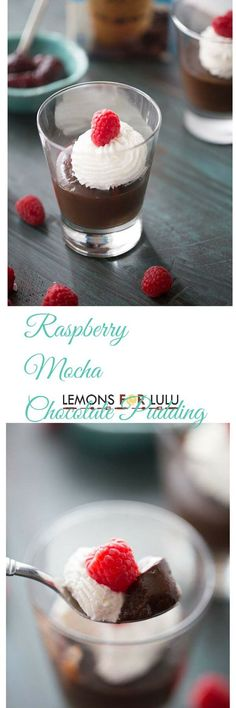 Raspberries and mocha iced coffee turn ordinary chocolate pudding into the most decadent dessert! The perfect little treat for when you need a pick me up! lemonsforlulu.com #IDelight #InternationalDelight