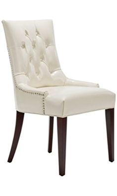 Safavieh Mercer Collection Erica Leather Button-Tufted Side Chair, Cream Best Price