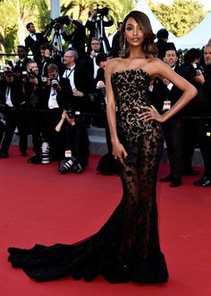 """Jourdan Dunn Photos - Model Jourdan Dunn attends the """"Little Prince"""" (""""Le Petit Prince"""") Premiere during the annual Cannes Film Festival on May 2015 in Cannes, France. - """"The Little Prince"""" Premiere - The Annual Cannes Film Festival Lace Evening Dresses, Strapless Dress Formal, Prom Dresses, Formal Gowns, Lace Dress, Toni Garrn, Celebrity Red Carpet, Celebrity Dresses, Glamour"""