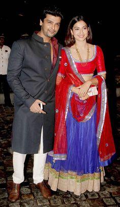 Gauhar (Gauahar) Khan with Kushal Punjabi at Nikitin Dheer and Kratika Sengar's wedding reception. #Bollywood #Fashion #Style #Beauty