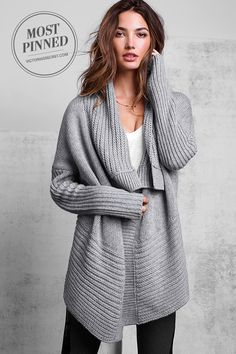 A chunky knit with a drapey fit, this cozy shawl-collared sweater will be a favorite for casual chilly days. | One-button Cardigan Sweater