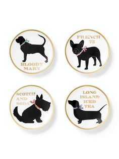 We updated our favorite ceramic coaster set with cute puppies! Each one corresponds to a cocktail: a bloodhound for a Bloody Mary, a Scotty for a scotch and soda, a Frenchie for a French '75, and a dachshund for a Long Island Iced Tea. Too cute, y'all!