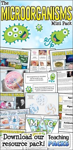 Explore the wonderful world of microorganisms with our handy resource pack! It includes a teaching guide, vocabulary resources, printable activities and a variety of display materials. Science Curriculum, Science Resources, Science Activities, Teacher Resources, High School Science, Science For Kids, Teaching Packs, Vash, Free Activities