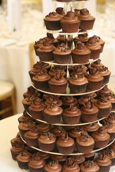 chocolate wedding cupcake tower display