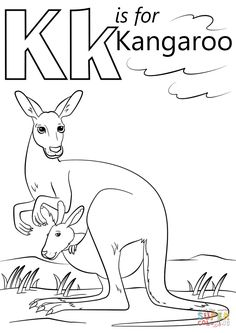 K is for Kangaroo coloring page from Letter K category. Select from 29500 printable crafts of cartoons, nature, animals, Bible and many more. Kindergarten Coloring Pages, Alphabet Coloring Pages, Free Printable Coloring Pages, Coloring Books, Colouring Sheets, Preschool Colors, Preschool Letters, Learning Letters, Preschool Ideas