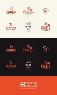 Pizza Logotypes and Badges by Design Crafts on Creative Market # de - Delivery Food - Ideas of Delivery Food - Pizza Logotypes and Badges by Design Crafts on Creative Market # delivery Pizza Logo, Pizza Branding, Food Branding, Logo Food, Branding Design, Italian Restaurant Logos, Italian Logo, Restaurant Logo Design, Pizza Restaurant