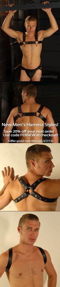 Show off your stuff with our sexy new men's leather harness designs! Choose from our minimalist Contender Harness or our pec-framing Bruiser Bulldog Harness - Order now and save 20% on your purchase! Use code FEBNEW at checkout (offer good through 3/7/13 or while supplies last).