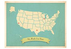 My Roots Customizable USA Travel Map