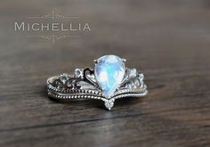 Vintage Pear Moonstone Engagement Ring Set by MichelliaDesigns