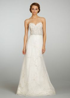 Ivory beaded and embroidered A-Line tulle bridal gown, sweetheart neckline, natural waist, chapel train. Bridal Gowns, Wedding Dresses by Lazaro - JLM Couture - Bridal Style LZ3305 by JLM Couture, Inc.