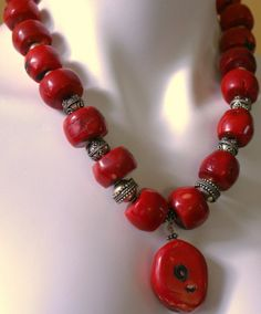 Chunky Red Bamboo Coral Beaded Necklace by JennysBaublesJewelry, $295.00