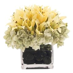 Natural Decorations, Inc. - Lily Hydrangea Yellow Green Glass Cube