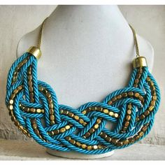 Braided Statement Necklace/Blue Necklace/Turquoise Necklace/Bohemian Necklace/Bib Necklace/Chunky Necklace/Beaded Necklace/Beaded Jewelry