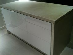 IKEA - Kitchen island made with standard Ikea kitchen cabinets. BESTA push openers used for hardware less finish. Custom cement top and sides. Stools For Kitchen Island, Kitchen Benches, Island Bench, Ikea Kitchen Cabinets, Kitchen Furniture, White Cabinets, Ikea Hacks, Ikea Island Hack, Ikea Bench