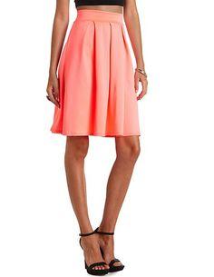 Pleated High-Waisted Full Midi Skirt: Charlotte Russe