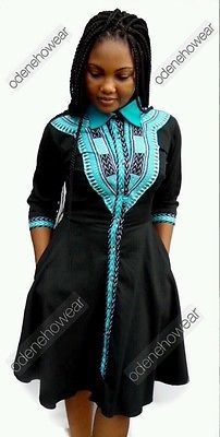 Odeneho Wear Ladies Polished Cotton Dashiki Dress African Clothing