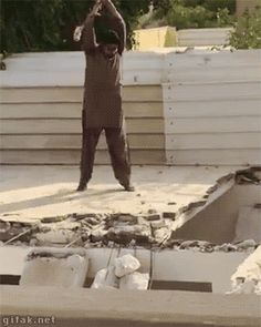 OMG what is he doing? Floor collapses . GIF - Click on the image for more...