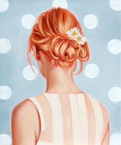"""Giclee Art Print of Original Oil Painting by Rose Miller inspired by fashion vogue, pop art figures, figurative and art. """"Strawberry Blonde""""..."""