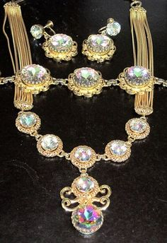 Schiaparelli Amazing Watermelon Rhinestone Necklace Bracelet Earring Set | eBay