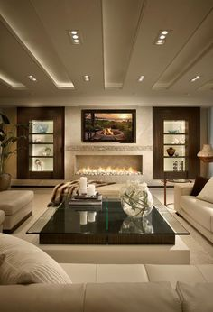 In modern interior TV zone and fireplace