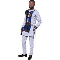 Natural Mens African Clothing Dashiki Men 2 Pieces Top and Pants Set African Dresses Men, African Clothing For Men, African Shirts, African Attire, African Wear, African Style, Trendy Clothing, African American Fashion, African Print Fashion