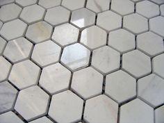 white carrera hexagon tile