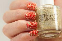 Red stamping nail art Different Dimension Lucid dreams and MoYou London Fashionista plate 11