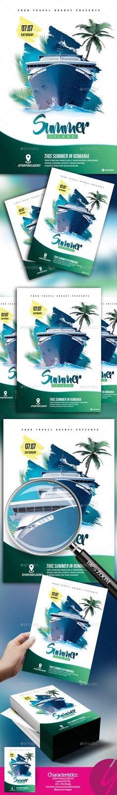Summer Island Tour Flyer Template PSD