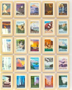 Ford visits numerous national parks all over the United States and has collected a vintage postcard from each one. She framed them individually and arranged them in a grid to create a graphic and compelling gallery wall.