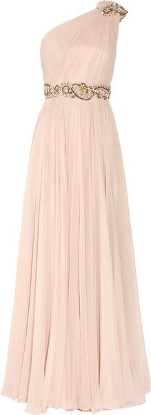 Marchesa Embellished Oneshoulder Silkchiffon Gown in Pink (blush). Most draped (Grecian) dresses don't lend themselves to hourglass figures, but one like this , with a tailored top and the accent on the natural waistline, would look quite nice. The floor-length would also help to elongate the legs!