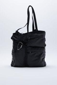 TOTE BAG WITH LOBSTER CLASP AND POCKETS | ZARA Spain Tote Bag With Pockets, Zara Spain, Shopper Bag, Gym Bag, Zip, Bags, Zara United Kingdom, Zara United States, Shoulder Straps