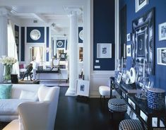 Lobstergirl said: Hague Blue by Farrow and Ball.Drawing Room Blue, Farrow and Ball.More Drawing Room Blue. Home Living, My Living Room, Living Room Decor, Dining Room, Living Area, Decor Room, Modern Living, Dining Table, Ikea Deco