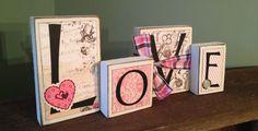 Love Sign - Valentine Wood Blocks Sign Decor. $16.00, via Etsy.