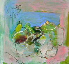 claire rollinson: still life with bird and pear