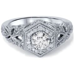 Bliss Diamond 4/5 CT Hexagonal Halo Diamond Vintage Engagement Ring... ($1,125) ❤ liked on Polyvore featuring jewelry, rings, jewelry & watches, white, 14k diamond ring, 14k ring, hexagon diamond ring, round cut diamond rings and diamond rings