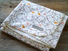 Extra Large Cat Flannel Receiving Blanket Swaddle by yeSweetheart