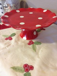 Ceramic Cake Stand Red with White Polka by PotteryandPaintbrush, $49.00
