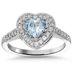 14K White Solid Gold Womens Diamond Aquamarine Heart Ring 0.89 Ctw