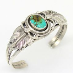 Excellent Navajo ROIE JAQUE Sterling Silver & Turquoise Cuff Bracelet | G O