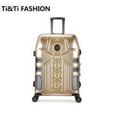 4 Sizes Vintage Travel Trolley Luggage Suitcase PC Aluminum Frame With TSA Lock Hardside Rolling Suitcase With Wheels